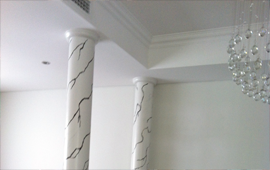 Ceramic columns hand painted with ceiling